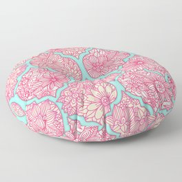 Moroccan Floral Lattice Arrangement in Pinks Floor Pillow
