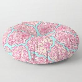 Moroccan Floral Lattice Arrangement in Pinks Floor Pillow
