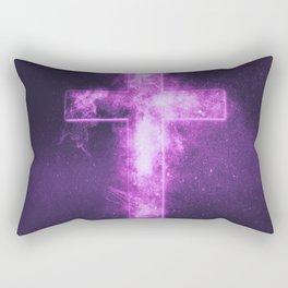 Christian cross symbol. Abstract night sky background. Rectangular Pillow