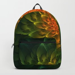 Beautiful Orange-Green Desert BarrelCactus Spiral Backpack