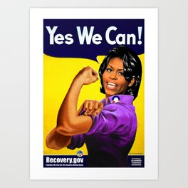 """""""Recovery.gov"""", Michelle Obama as Rosie the riveter. Art Print"""