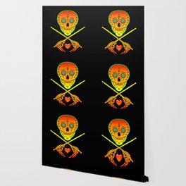 Neon Sugar Skull Drummer. Wallpaper