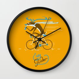 Easy Rider // (cycling hipster deer) Wall Clock