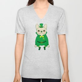 Cute French Bulldog is Feeling Lucky on St. Patrick's Day Unisex V-Neck