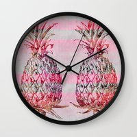pineapple Wall Clocks featuring Pineapple by LebensART