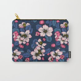 Apple blossom on  dark blue Carry-All Pouch