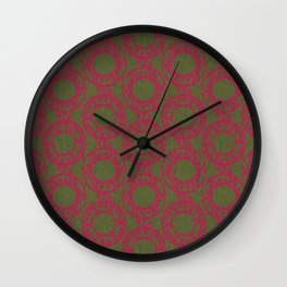 Scrolled Ringed Ikat Pattern – Pesto Jazzy Wall Clock
