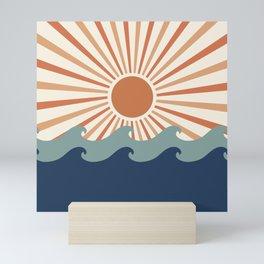 Retro, Sun and Wave Art, Blue and Orange Mini Art Print