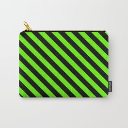 Bright Green and Black Diagonal LTR Stripes Carry-All Pouch