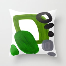 Mid Century Vintage 70's Design Abstract Minimalist Colorful Pop Art Olive Green Dark Green Grey Throw Pillow