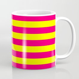 Super Bright Neon Pink and Yellow Horizontal Beach Hut Stripes Coffee Mug
