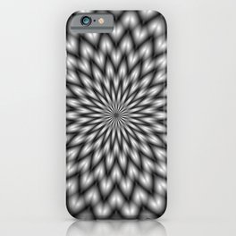 Fibonacci Flower in Black and White  iPhone Case