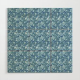 Blue Grey Abstract Floral Lace Pattern Wood Wall Art