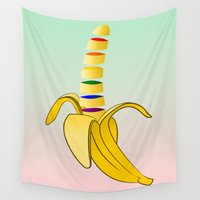 pride Wall Tapestries featuring Gay Pride Banana  by mailboxdisco