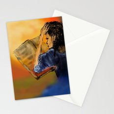 GIRL READING A BOOK Stationery Cards