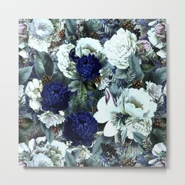 Vintage & Shabby Chic - Blue Winter Roses Metal Print