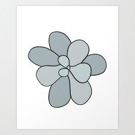 Succulent Art Blue Gray Succulent Art Print