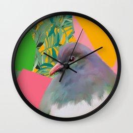 Kereru with Plants on Pink Wall Clock
