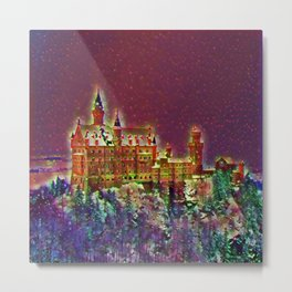 Castle On The Mountain Graphic Art Design | Digital Art | Painting Metal Print