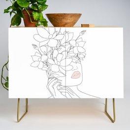 Minimal Line Art Woman with Magnolia Credenza