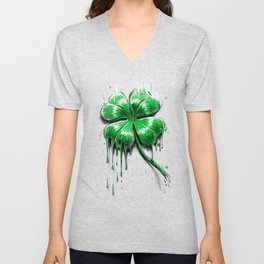 Four Leaf Clover Melting Luck Unisex V-Neck