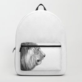 Black and White Lion Profile Backpack