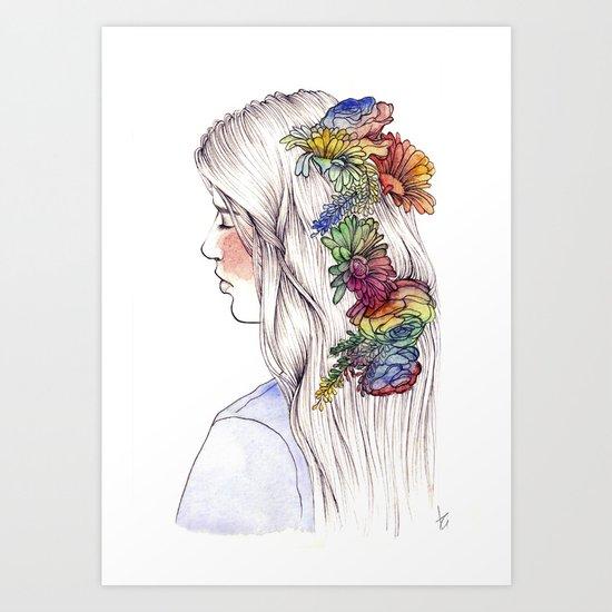 Fleurs d'aquarelle Art Print
