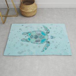 Glamour Aqua Turquoise Turtle Underwater Scenery Rug