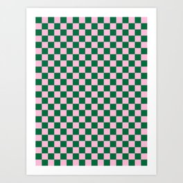 Cotton Candy Pink and Cadmium Green Checkerboard Art Print