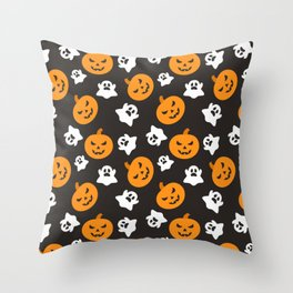 Happy halloween pumkins and ghosts pattern Throw Pillow