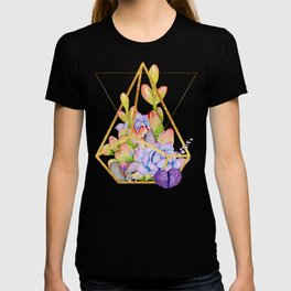 Succulent Geometry gold wire geometric frames T-shirt