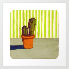 Cactus with Wallpaper Art Print