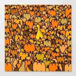 Duck in a Pumpkin Patch Canvas Print
