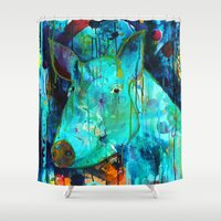 pig Shower Curtains featuring Pig by Silke Powers