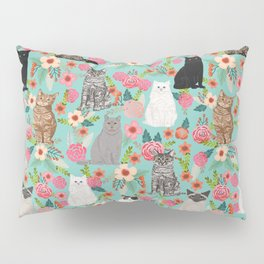 Cats floral mixed breed cat art cute gifts for cat ladies cat lovers pet art Pillow Sham