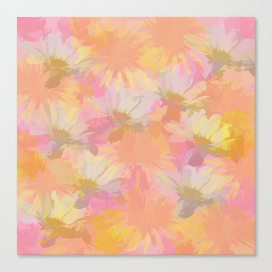 Painted Spring Flowers Canvas Print