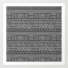Mud Cloth on Gray Art Print