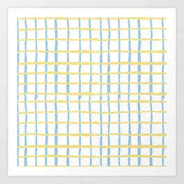 Pastel yellow teal watercolor geometrical checker stripes Art Print