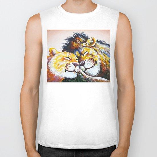 lion love Biker Tank
