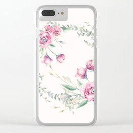 pink floral wreath Clear iPhone Case