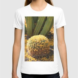 Barrel Cactus Covered In Butter Yellow Palo Brea Blossoms in Portrait T-shirt