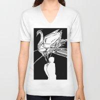 swan V-neck T-shirts featuring Swan by Mariia Krugliakova