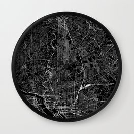 Washington D.C. Black Map Wall Clock