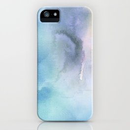 Navy blue teal lavender yellow watercolor brushstrokes iPhone Case
