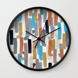 rust, teal, blush paint lines Wall Clock