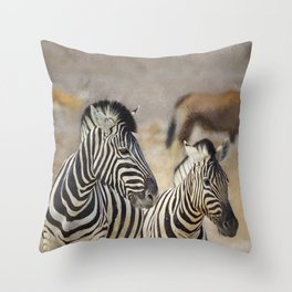 Zebra Mother and Foal at Etosha Throw Pillow