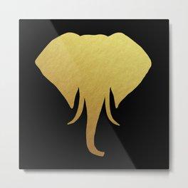 Golden Elephant Head Black Metal Print