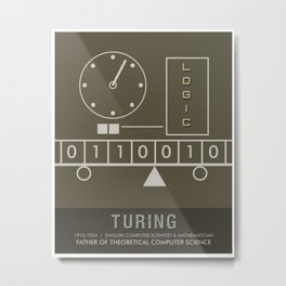 Science Posters - Alan Turing - Mathematician, Computer Scientist Metal Print