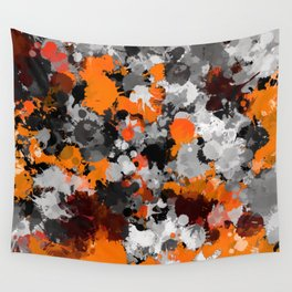 Orange and Grey Paint Splatter Wall Tapestry