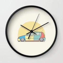 Volkswagen Polo 6n Harlequin vector illustration Wall Clock